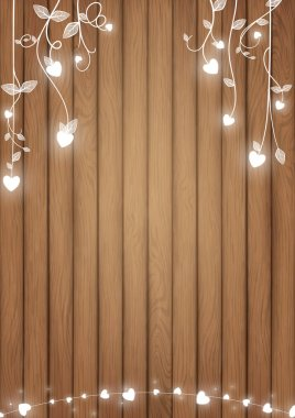 Romantic background conception included brown wood planks and white glowing heart as doodle vines style