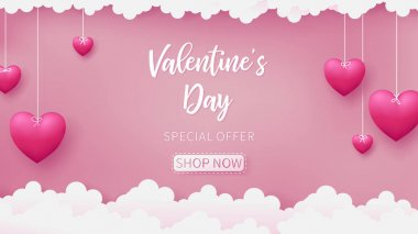 Valentines of paper craft design, contain pink hearts are holding by sting on top, soft pink background feel like fluffy in the air, Valentine's Day text is floating from back as white color
