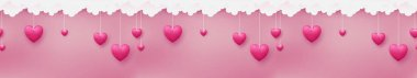 Horizontal seamless consists of pink hearts are hanging by paper craft clouds on pastel pink background