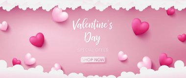 valentine banner as pink pastel theme consist of deep pink and pearl pink colors are in heart shapes