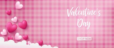 Valentine background with pink pattern background and heart shapes
