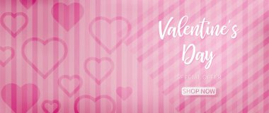 Valentine background with pink abstract pattern included oblique lines and heart shapes for each side