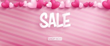 Valentine banner with SALE typography in paper craft style hanging by realistic hearts on top over pink pattern oblique line background