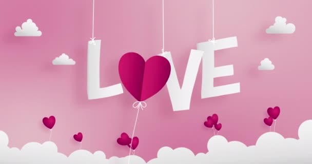 Valentines  papercraft concept contains many shapes of paper cutting elements such as LOVE text in middle hanging by string ,O alphabet replaced by heart flower and little flowers on the clouds.