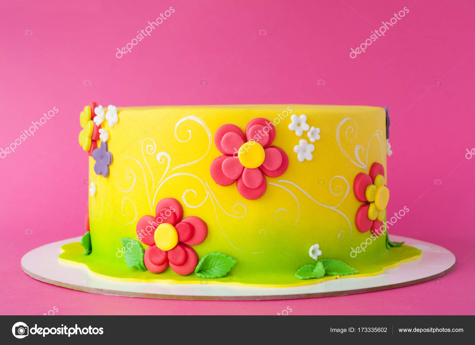 Awesome Colorful Childrens Birthday Cake Made Of Yellow Mastic Decorated Funny Birthday Cards Online Alyptdamsfinfo