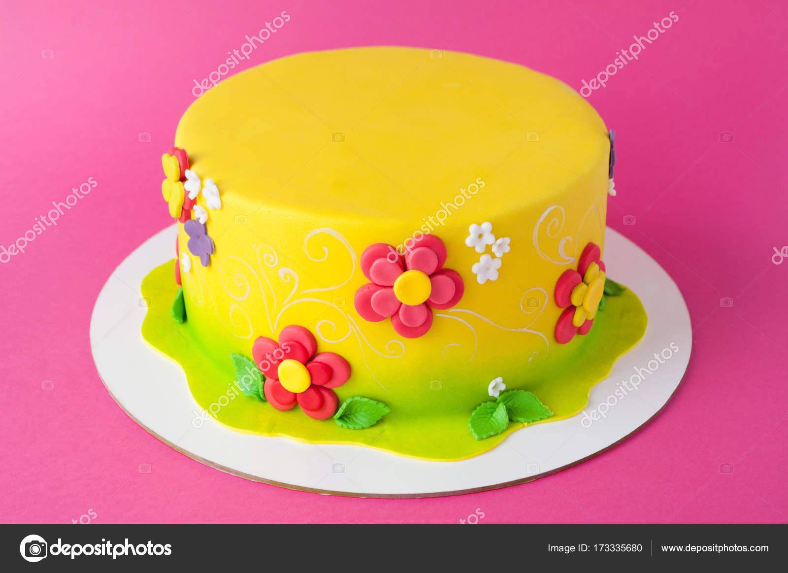 Enjoyable Colorful Childrens Birthday Cake Made Of Yellow Mastic Decorated Funny Birthday Cards Online Ioscodamsfinfo
