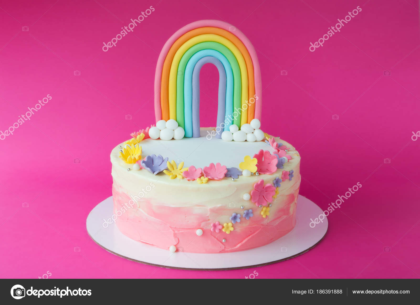 Birthday Pink Cake Girl Decorated Rainbow Clouds Flowers Mastic Pink