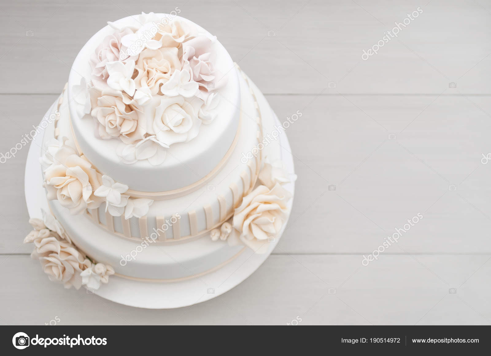 Three Tiered White Wedding Cake Decorated Flowers Mastic White