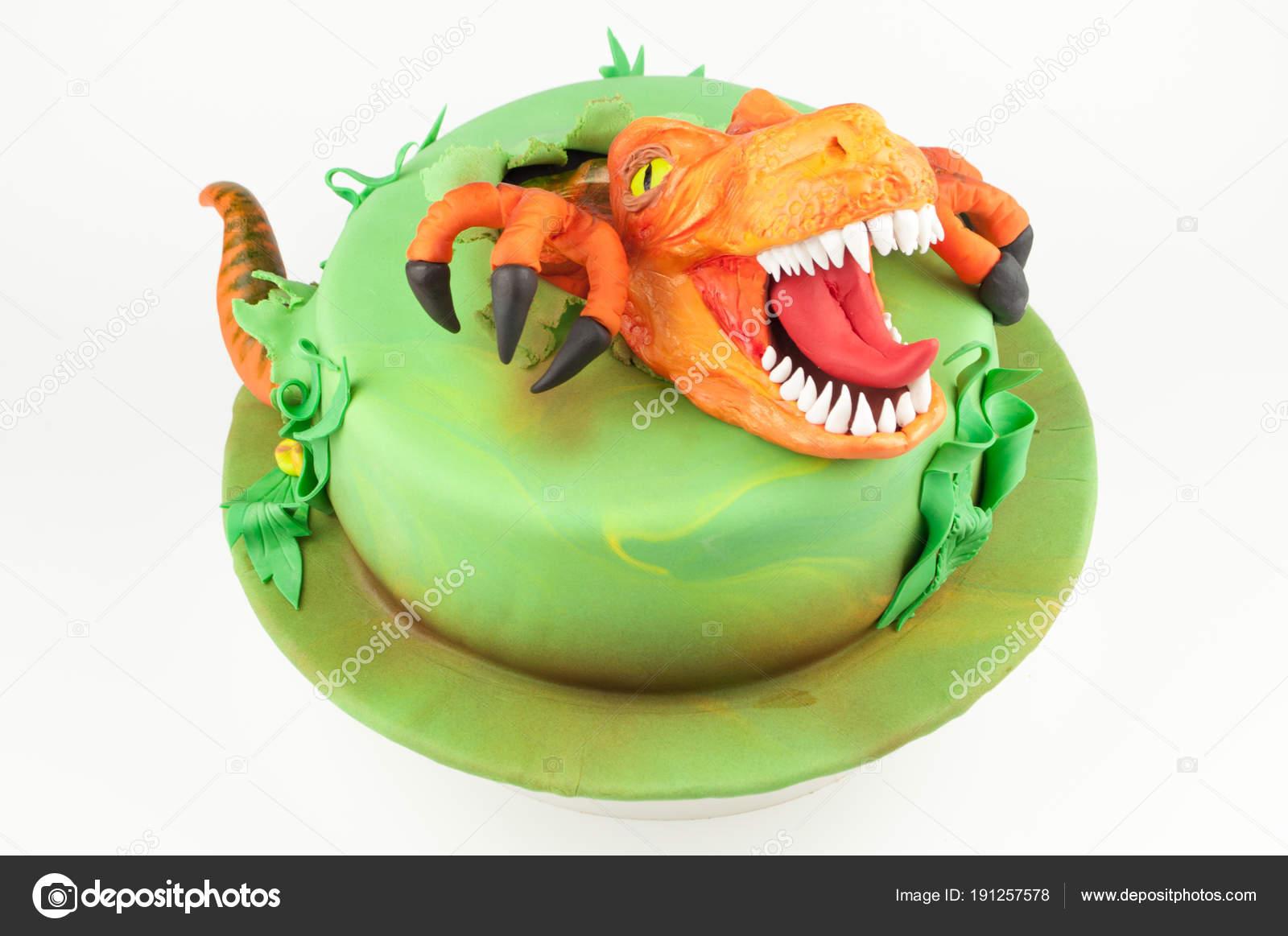 Pastel Arte Con Dinosaurio Naranja Decorado Con Hojas Color Verde ...