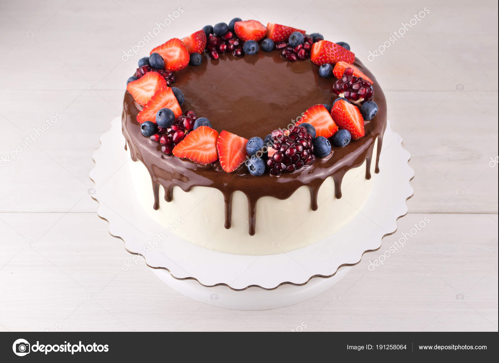 Birthday Cake Chocolate Strawberries Blueberries Garnet White Wooden Table Picture Stock Photo