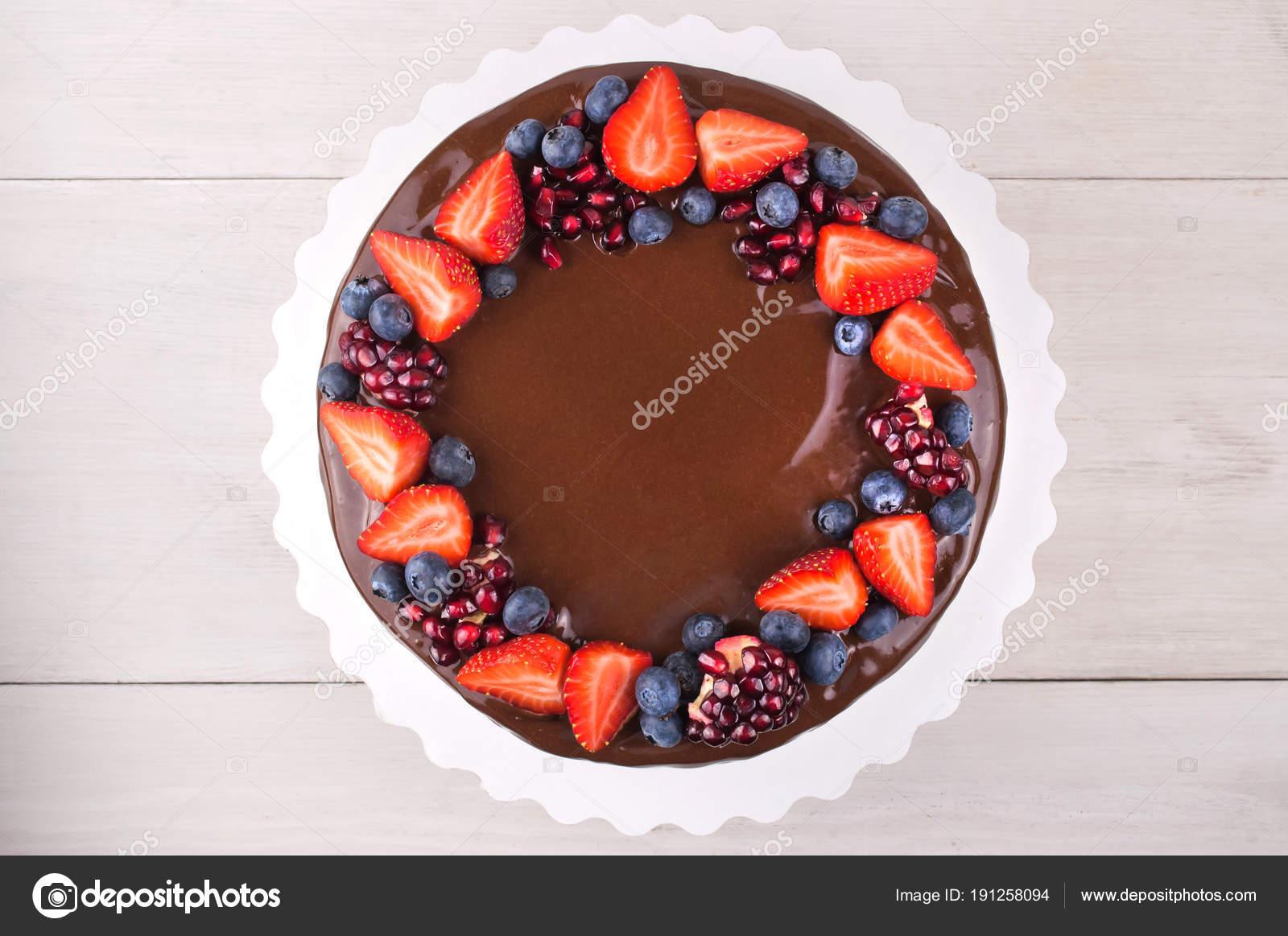 Birthday Cake Chocolate Strawberries Blueberries Garnet White Wooden Table Top Stock Photo