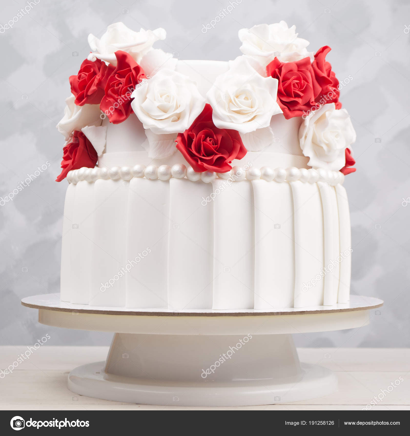 Two Tiered Wedding Cake Decorated Red White Flowers Mastic White ...