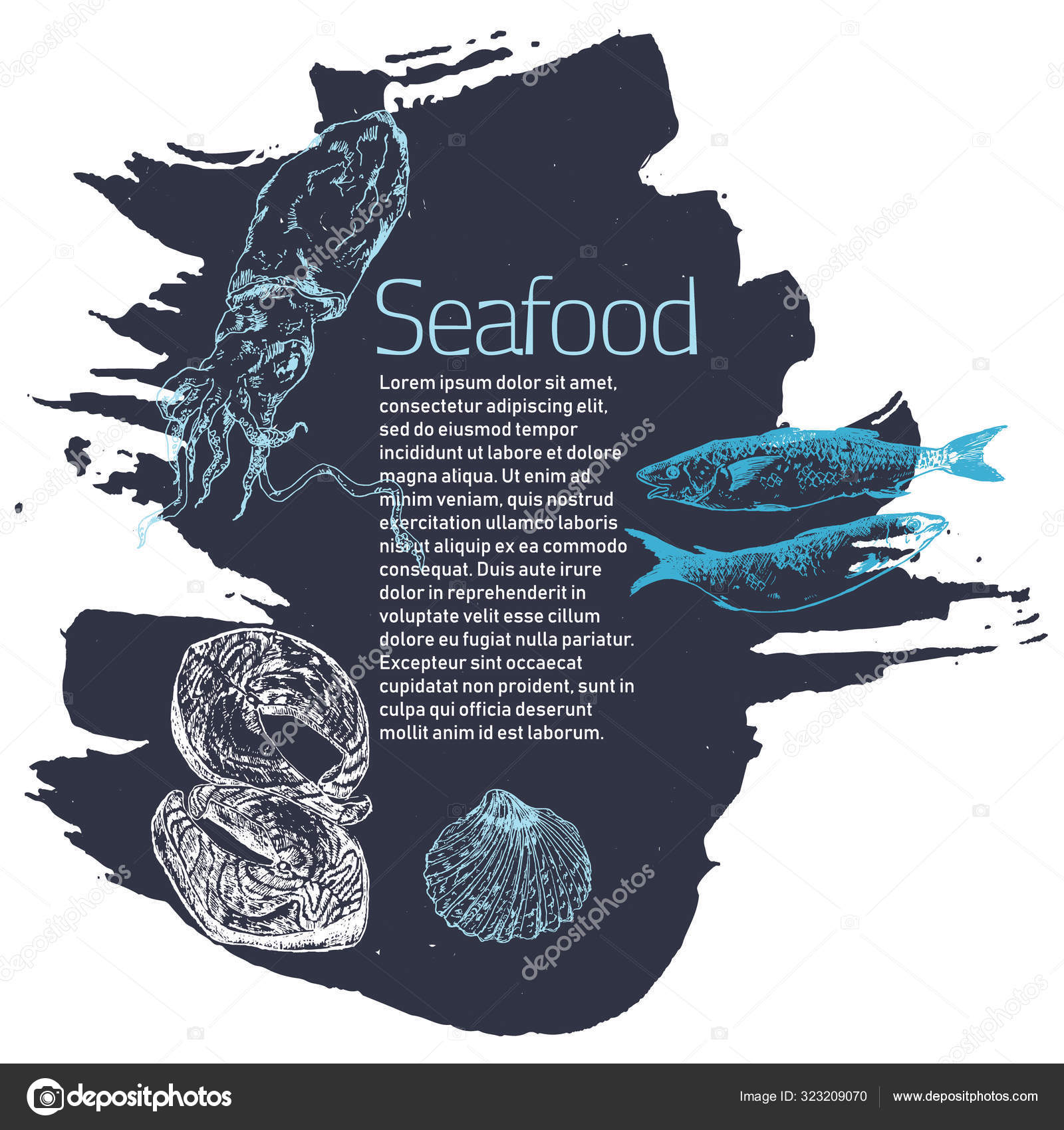 Fish And Sea Food Restaurant Poster Sketch Vector Illustration Fish And Sea Food Cuisine Restaurant Or Cafe Seafood And Fish Sketch Banner Stock Vector C Bychovsky Gmail Com 323209070