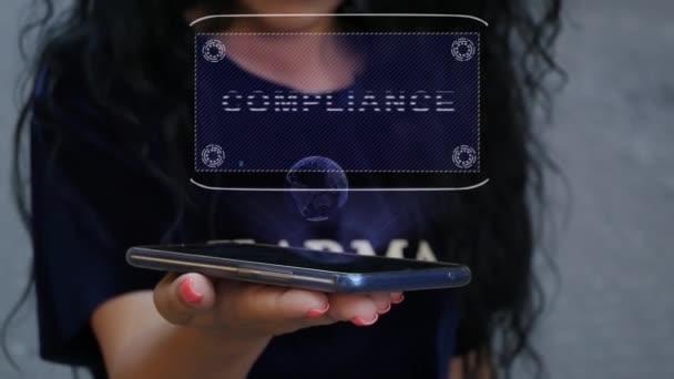 Woman showing HUD hologram Compliance