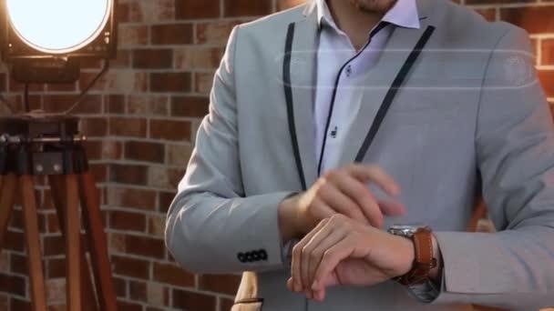 Man uses smartwatch hologram Super sale