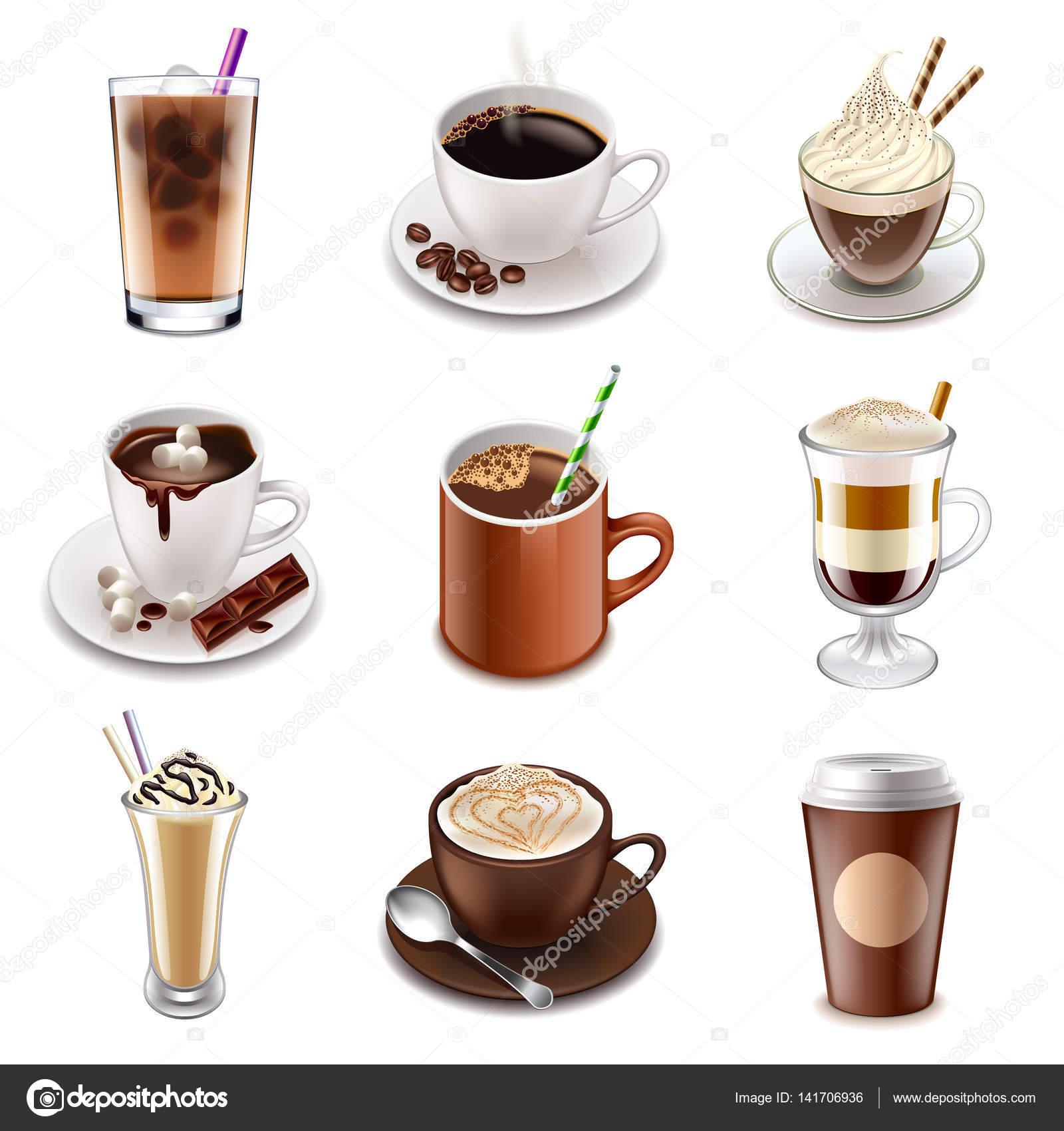 Kaffee-Getränke-Symbole-Vektor-set — Stockvektor © andegraund548 ...