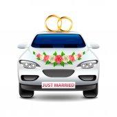 Fotografie Svatební auto novomanželům izolované na bílém vektor