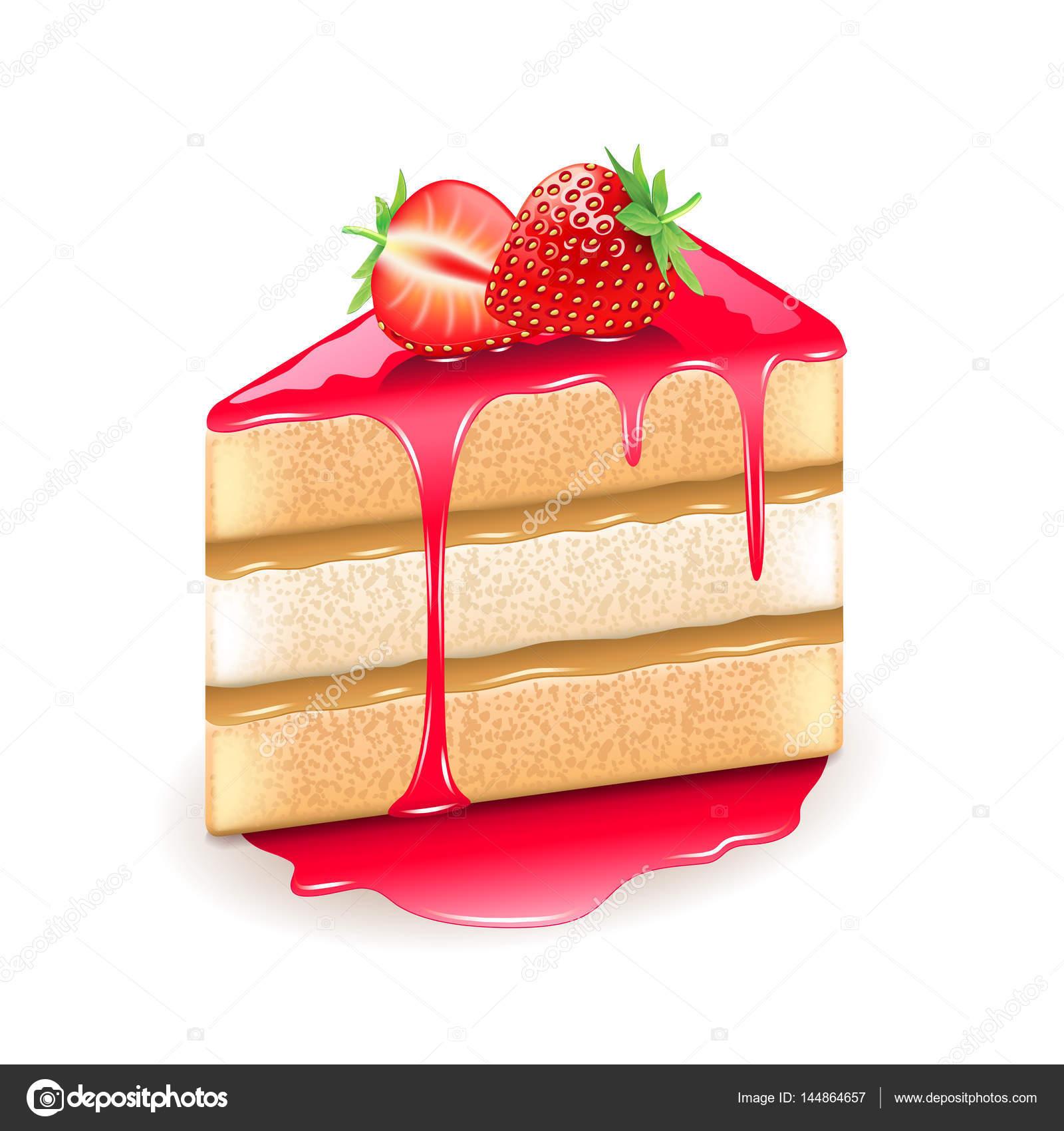 白いベクトルに分離されたイチゴのケーキ ストックベクター