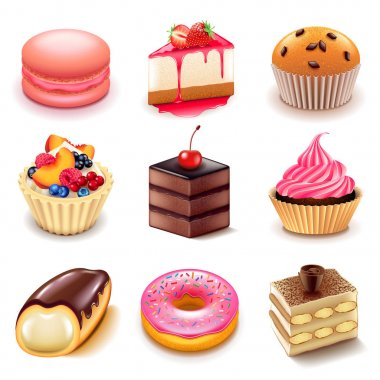 Cakes icons vector set