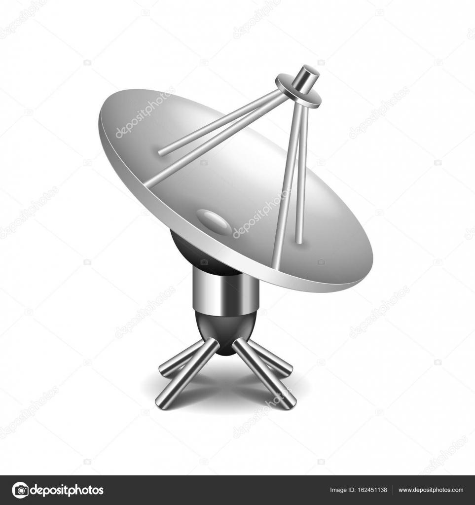 antenne parabolique isolé sur blanc vector — image vectorielle