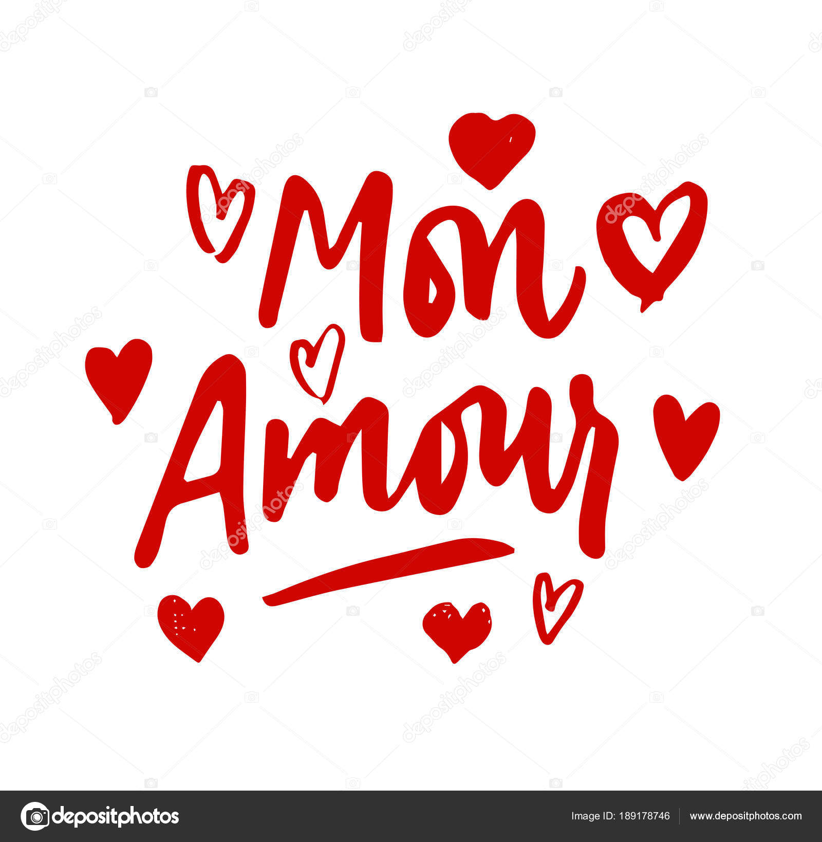 mon amour lettering hearts illustration my love in french hand