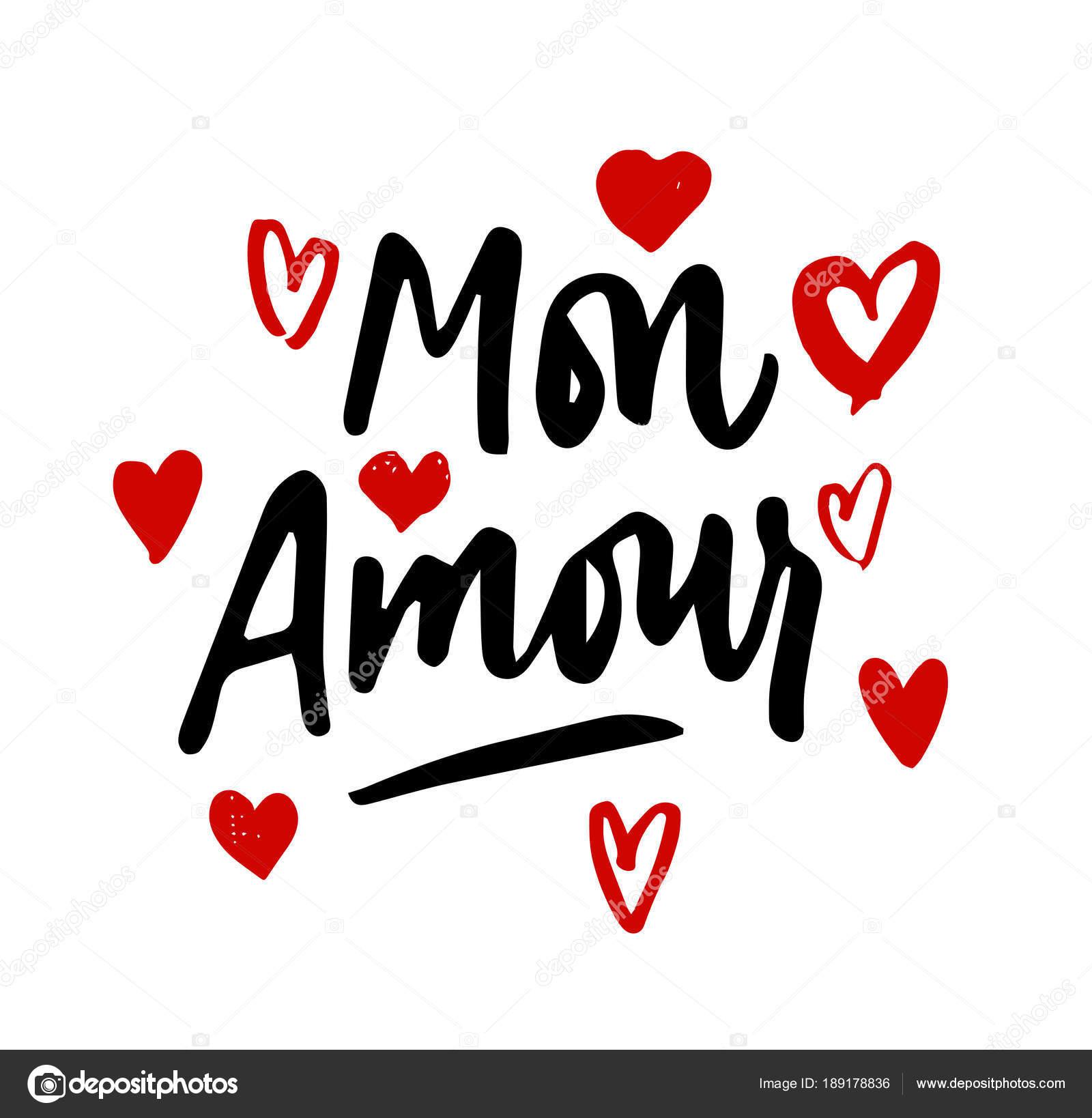 Letra De Mon Amour Ilustración De Corazones Mi Amor En