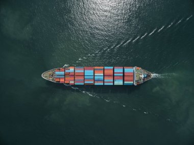 Aerial view of cargo ship, cargo container in warehouse harbor a