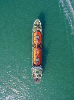Aerial top view tanker ship park in sea . stock vector