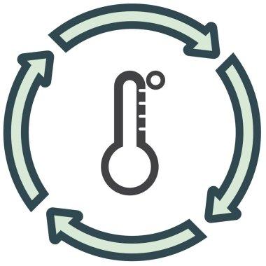Thermometer vector flat line icon. Temperature measurement sign. Celsius and fahrenheit symbol clip art vector