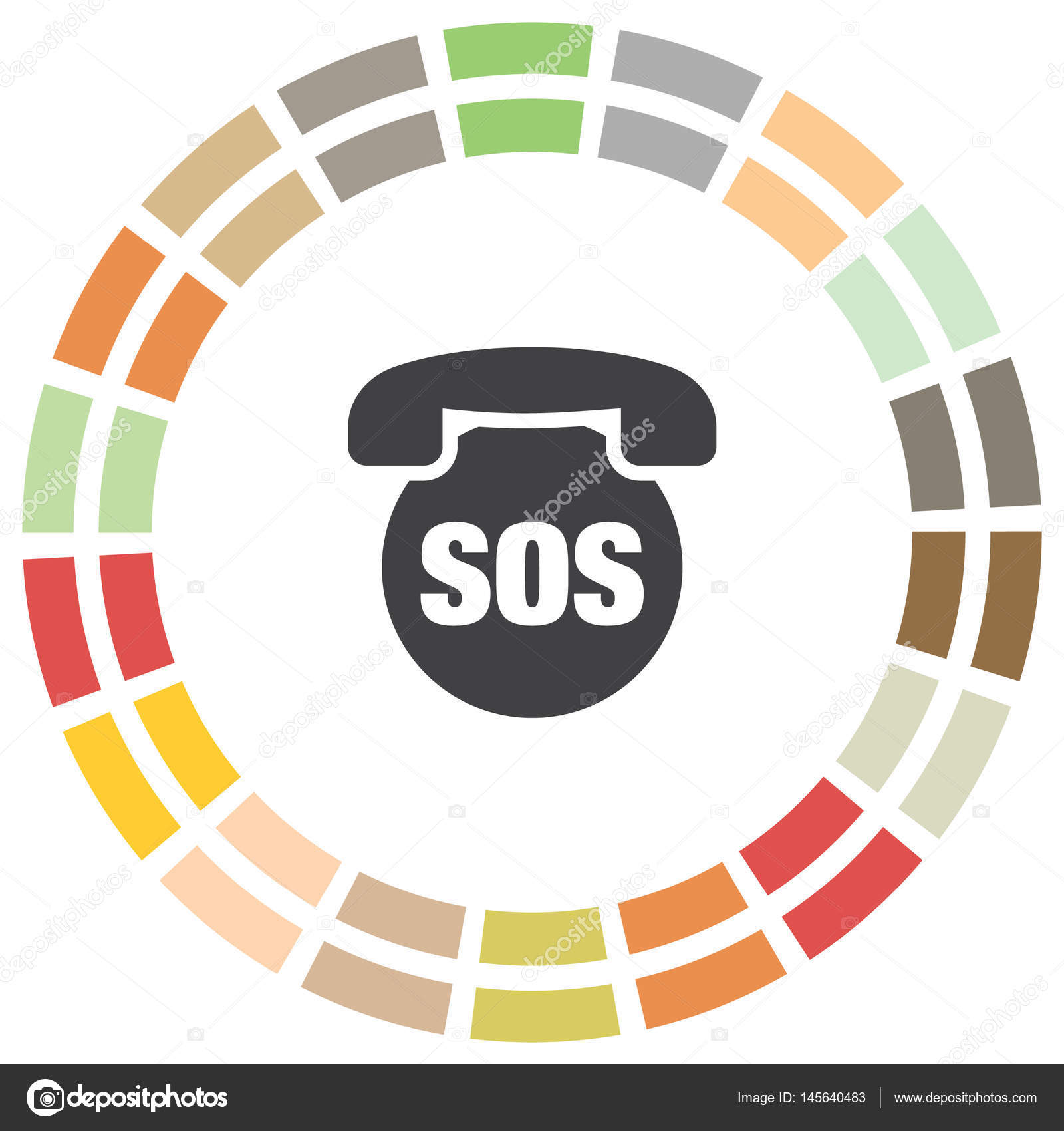 SOS Phone Vector Icon Emergency Contact Sign By Quka