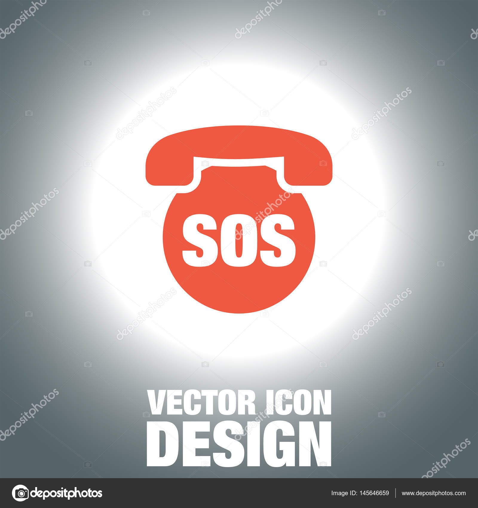 SOS Phone Vector Icon Emergency Contact Sign EMS Cell Service Symbol By Quka