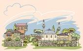Kreslení čar. Ulice starého města orientální. Ručně tažené útržkovité