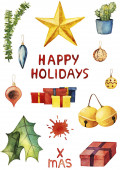 Photo Set of winter watercolor stickers with Christmas symbols