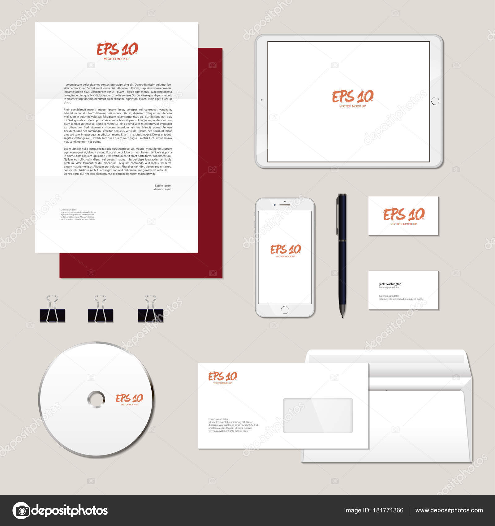realistic corporate brand identity mockup set business stationery