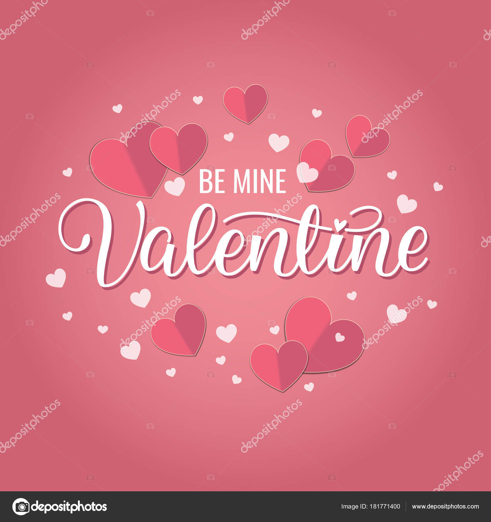 happy valentines day romantic greeting card paper hearts typography
