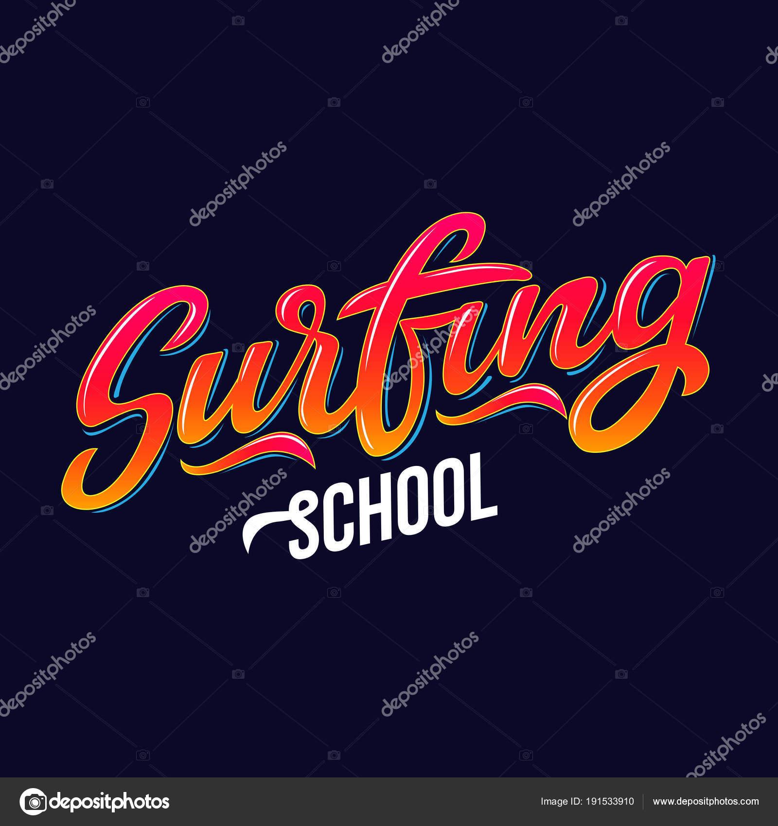 Surf Texto Escolar Logotipo Desgaste Campo Deportes Viaje Bandera ...