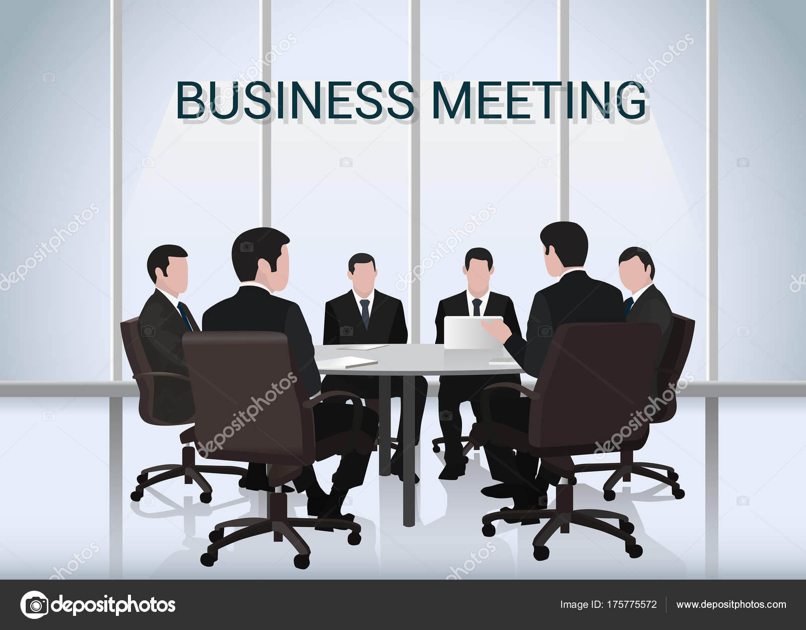 Business Meeting.A Group Of Businessmen Is Negotiating Round The Table U2014  Stock Vector