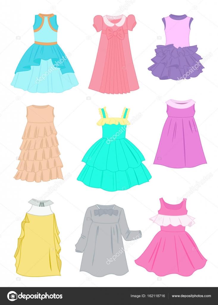Vector Vestidos Niñas Vestidos De Fiestas Para Las Niñas
