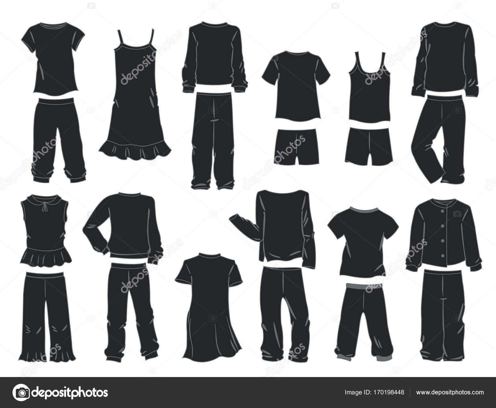 f4d8e148b467 Siluetas de pijamas para niñas, aisladas sobre fondo blanco — Vector de  sibiryanka