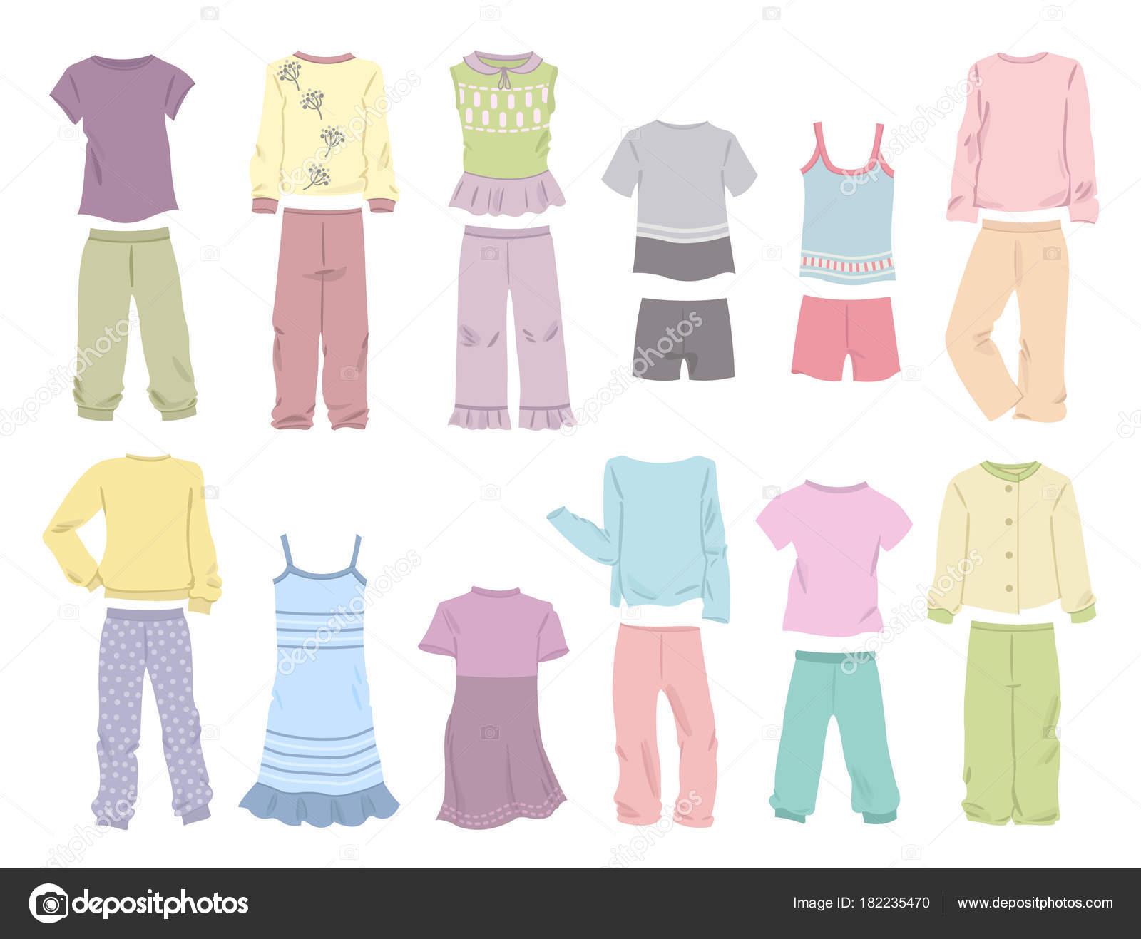 76a3f6b293f9 Conjunto de pijama para las niñas en suaves colores aislados sobre fondo  blanco — Vector de ...