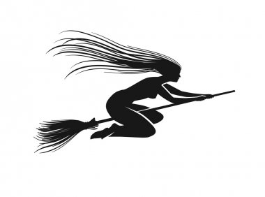 Witch on broomstick. Black silhouette. Vector