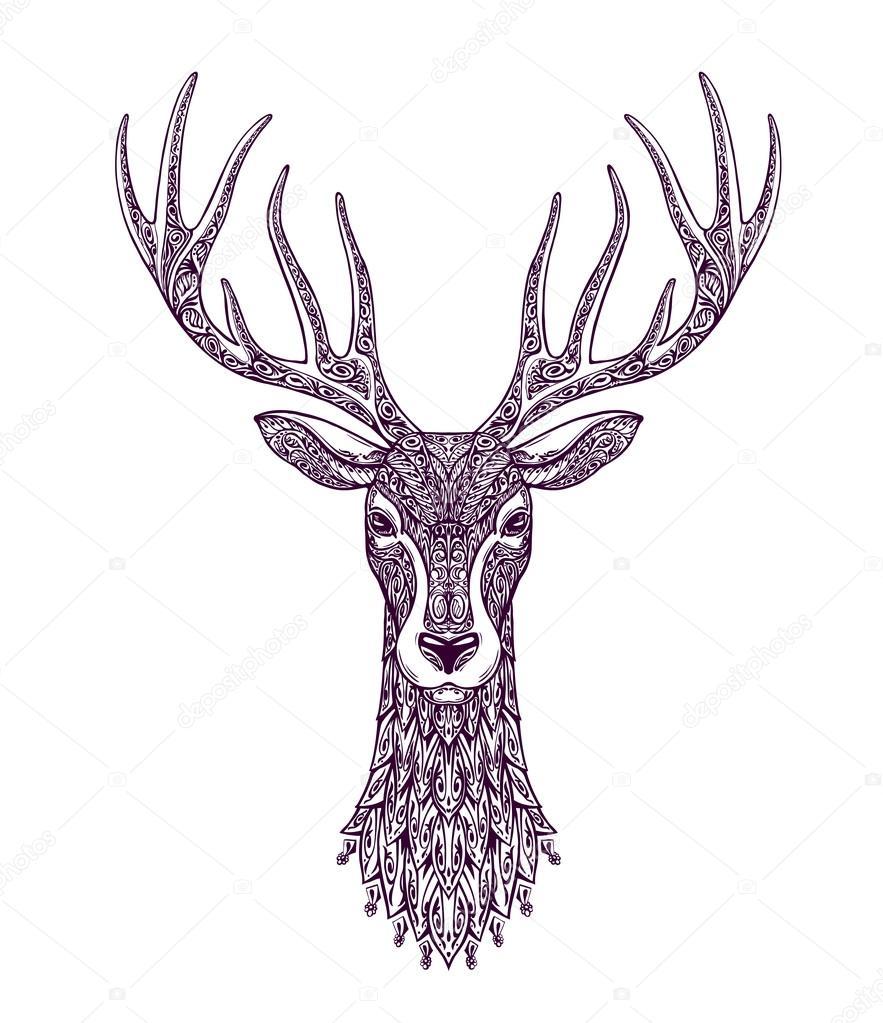 Bilder Rentiere Weihnachten.Handgezeichnete Kopf Hirsche Rentiere Weihnachten Xmas Symbol