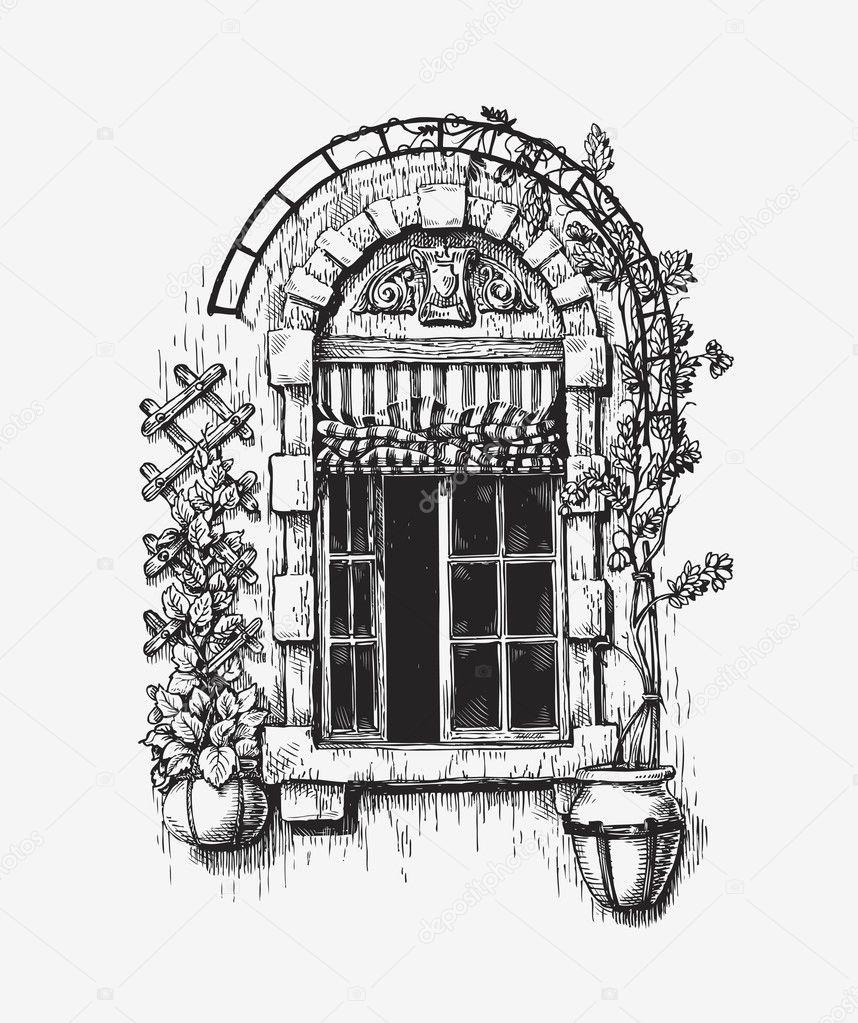 Offenes fenster gezeichnet  Fenster Skizze. Vintage Vektor-illustration — Stockvektor #127777160