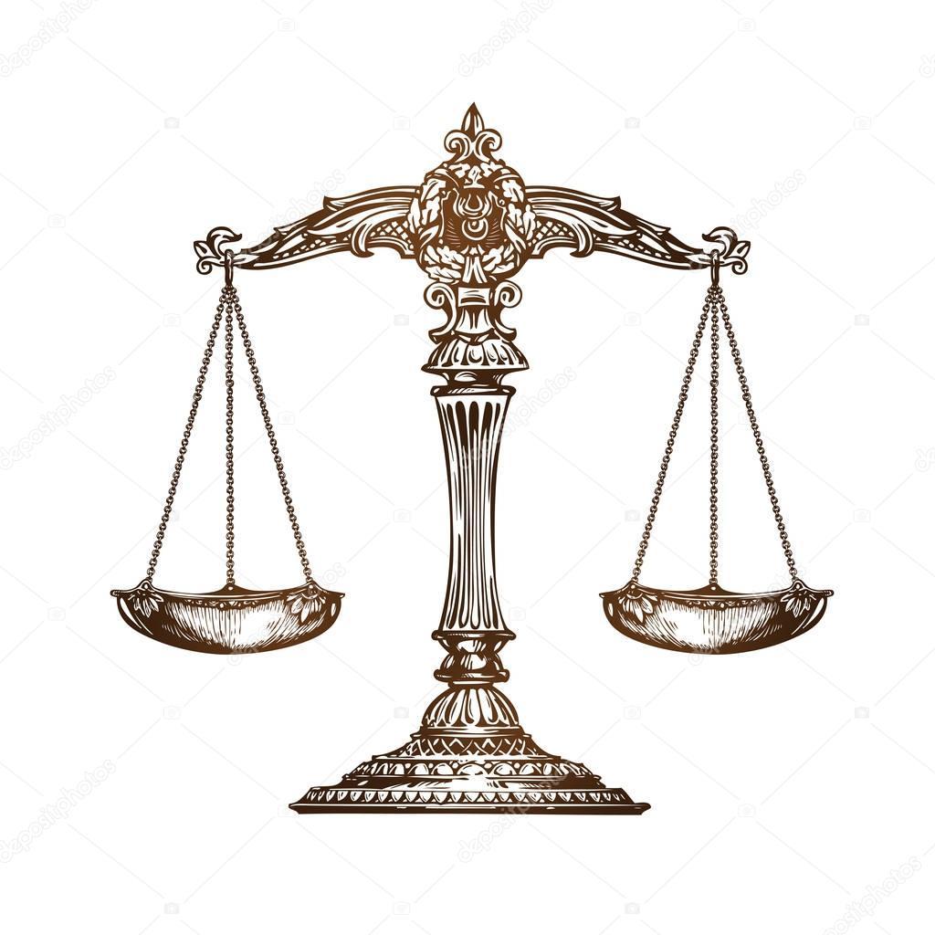 Balance de la justice vecteur de croquis vintage image vectorielle sergeypykhonin 129833188 - Dessin de balance ...