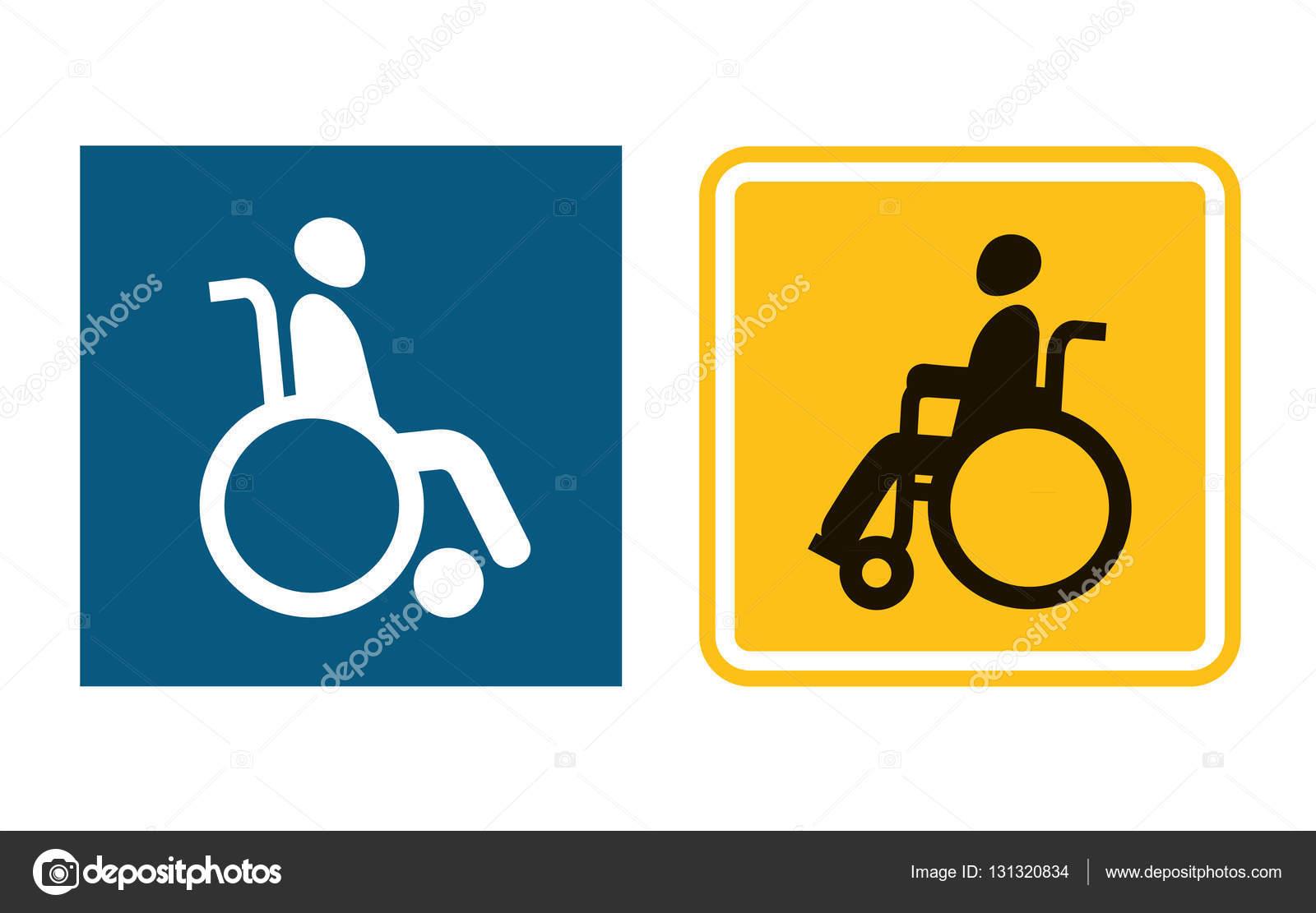 Icono De Signo De Movilidad. Hombre En Silla De Ruedas
