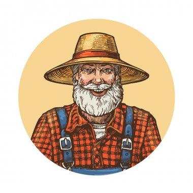 Smiling farmer in straw hat. Gardener or beekeeper vector illustration