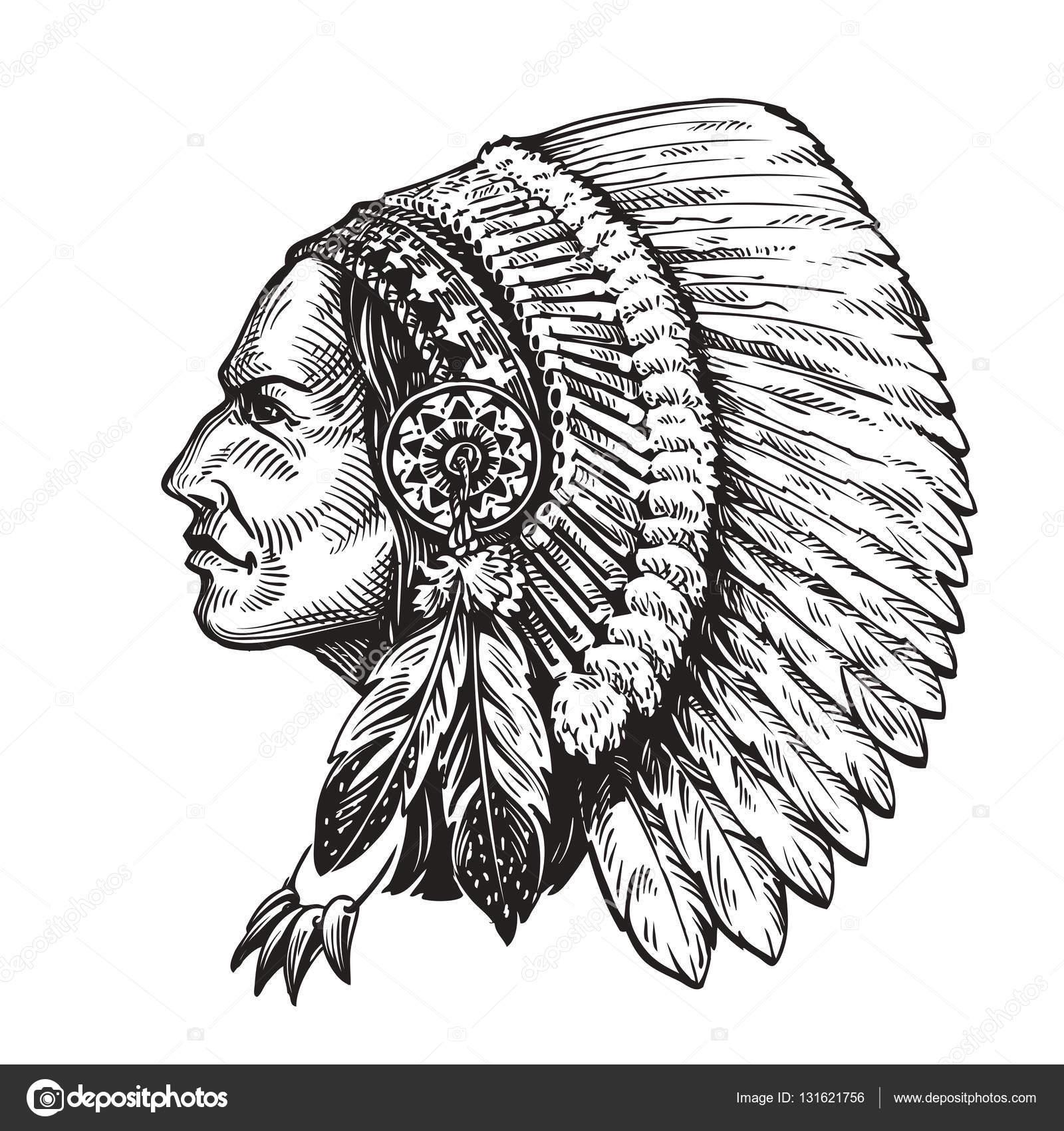 Indian Nacelnik Rucne Tazene Skica Vektorove Ilustrace Stock
