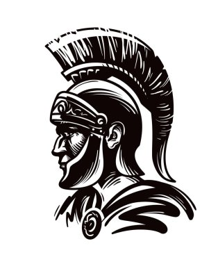 Spartan warrior, gladiator or roman soldier. Vector illustration