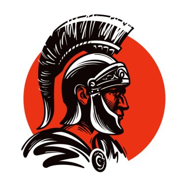 Roman soldier or Gladiator inside circle. Vector illustration