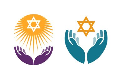 Hands holding Star of David. Icon or symbol vector isolated on white background stock vector